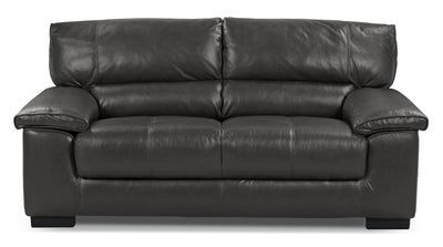 Chateau D'Ax 100% Genuine Leather Loveseat - Charcoal - Contemporary style Loveseat in Grey