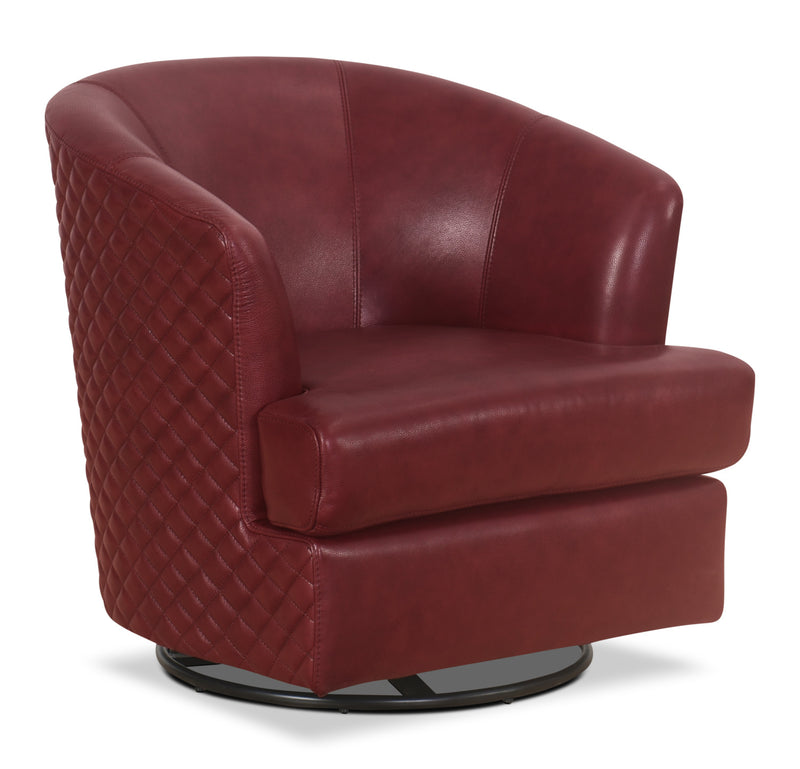 Leola 100% Genuine Leather Accent Swivel Chair – Red|Fauteuil d'appoint pivotant Leola en cuir véritable - rouge
