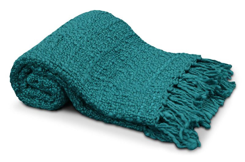 Knit Throw with Tassels – Teal|Jeté tricoté à glands - bleu sarcelle