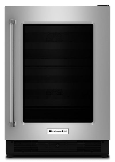 KitchenAid 5.1 Cu. Ft. Glass-Door Undercounter Refrigerator with Right-Door Swing – Stainless Steel - Refrigerator in Stainless Steel