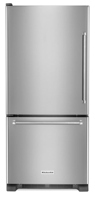 KitchenAid 19 Cu. Ft. Bottom-Mount Refrigerator with Left Door Swing - KRBL109ESS|Réfrigérateur KitchenAid de 19 pi3 à charnières de porte à gauche - KRBL109ESS|KRBL109S