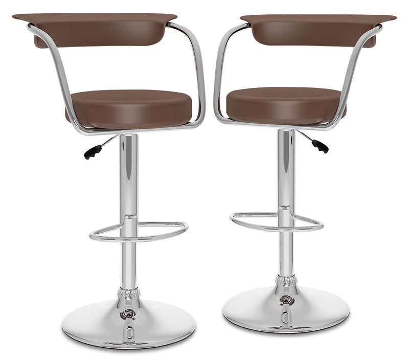 CorLiving Open-Back Adjustable Bar Stool, Set of 2 – Brown|Tabouret bar réglable CorLiving à dossier ouvert, ensemble de 2 - brun