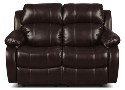 Omega 3 Leather-Look Fabric Reclining Loveseat – Brown - Contemporary style Loveseat in Brown