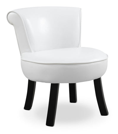 Monarch Children's Accent Chair – White - Contemporary style Accent Chair in White Wood and Faux Leather