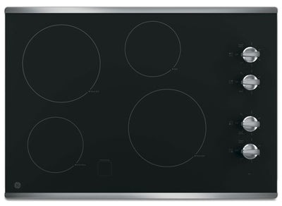 "GE 30"" Electric Cooktop with Built-In Knob-Control - Stainless Steel - Electric Cooktop in Stainless Steel"