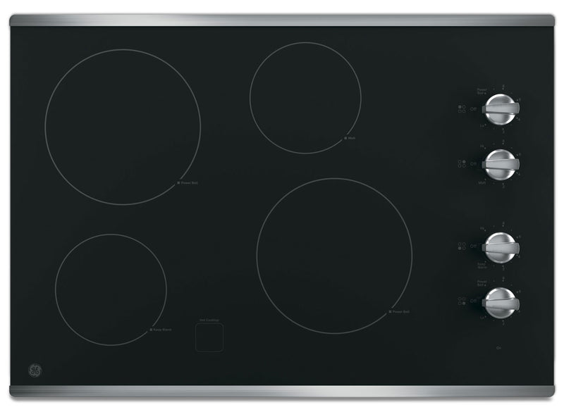 "GE 30"" Electric Cooktop with Built-In Knob-Control - Stainless Steel
