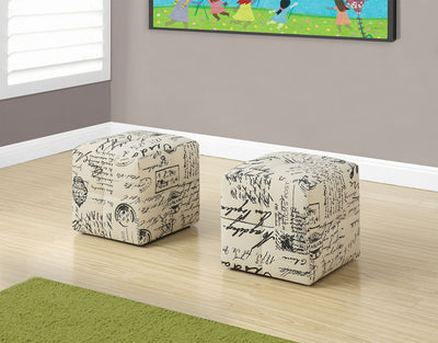 Monarch Children's 2-Piece Ottoman Set – Vintage Script - Contemporary style Ottoman in Script Polyester and Foam