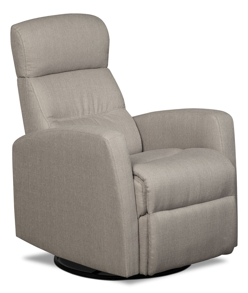 Penny Linen-Look Fabric Swivel Rocker Reclining Chair – Taupe|Fauteuil berçant inclinable et pivotant Penny en tissu d'apparence lin - taupe