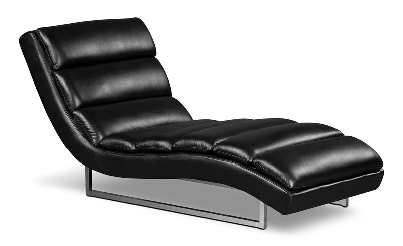 Maddy Leather-Look Fabric Chaise – Black|Fauteuil long Maddy en tissu d'apparence cuir - noir