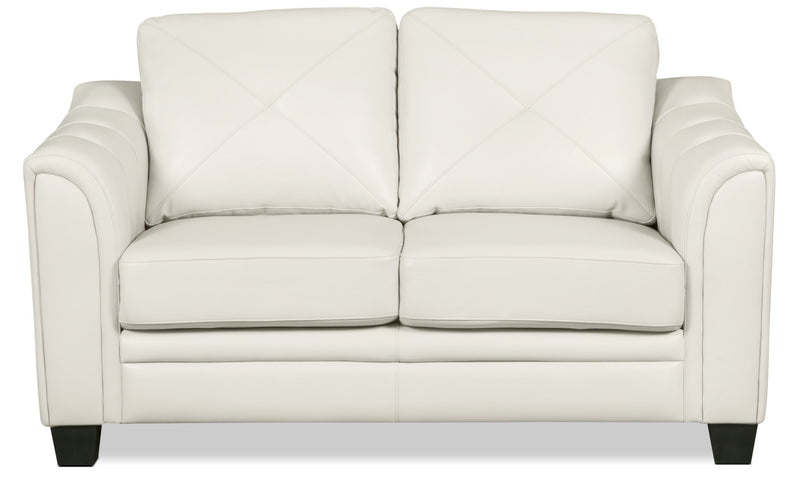 Andi Leather-Look Fabric Loveseat – Beige - Glam style Loveseat in Beige