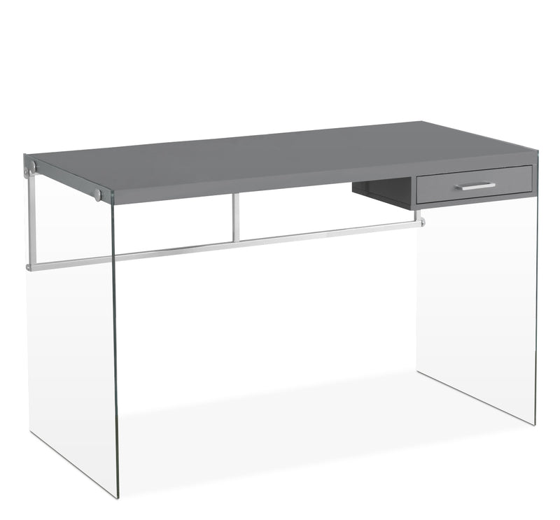 Essex Computer Desk – Glossy Grey|Bureau d'ordinateur Essex - gris brillant