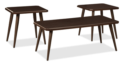 Mara 3-Piece Coffee and Two End Tables Package - Modern style Occasional Table Package in Dark brown