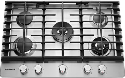 "KitchenAid 30"" 5- Burner Gas Cooktop with Griddle – Stainless Steel - Gas Cooktop in Stainless Steel"