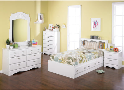 Diamond Dreams 6-Piece Twin Mates Bed Bedroom Package - Traditional style Bedroom Package in White
