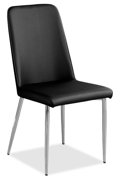 Marco Dining Chair – Black - Modern style Dining Chair in Black Metal and Faux Leather