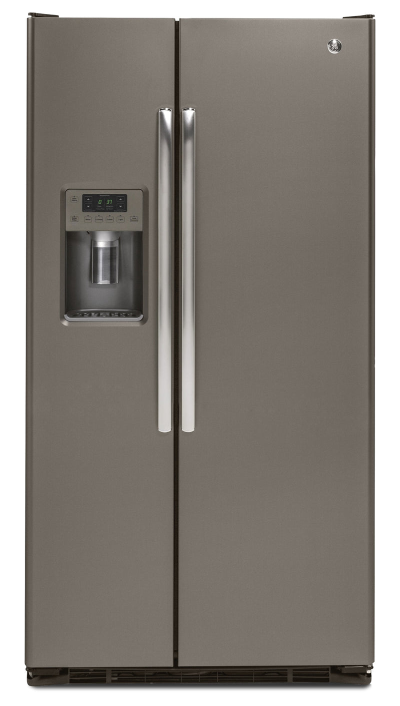 GE 21.9 Cu. Ft. Side-by-Side Refrigerator with Water and Ice Dispenser – Slate|Réfrigérateur GE de 21,9 pi³ à compartiments juxtaposés avec distributeur d'eau - ardoise
