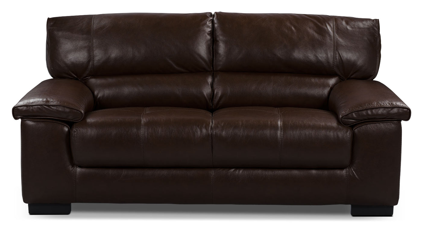 Chateau D Ax 100 Genuine Leather Loveseat Dark Brown The Brick