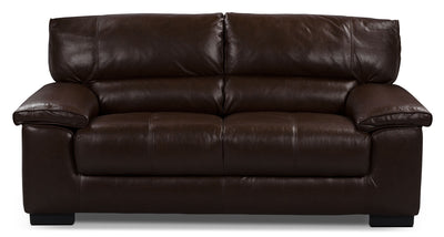 Chateau d'Ax 100% Genuine Leather Loveseat - Dark Brown - Contemporary style Loveseat in Brown