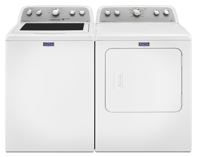 Maytag Bravos® 5.0 Cu. Ft. Top-Load Washer and 7.0 Cu. Ft. Electric Dryer - White|Laveuse de 5,0 pi³ et sécheuse électrique de 7,0 pi³ Maytag BravosMC - blanches