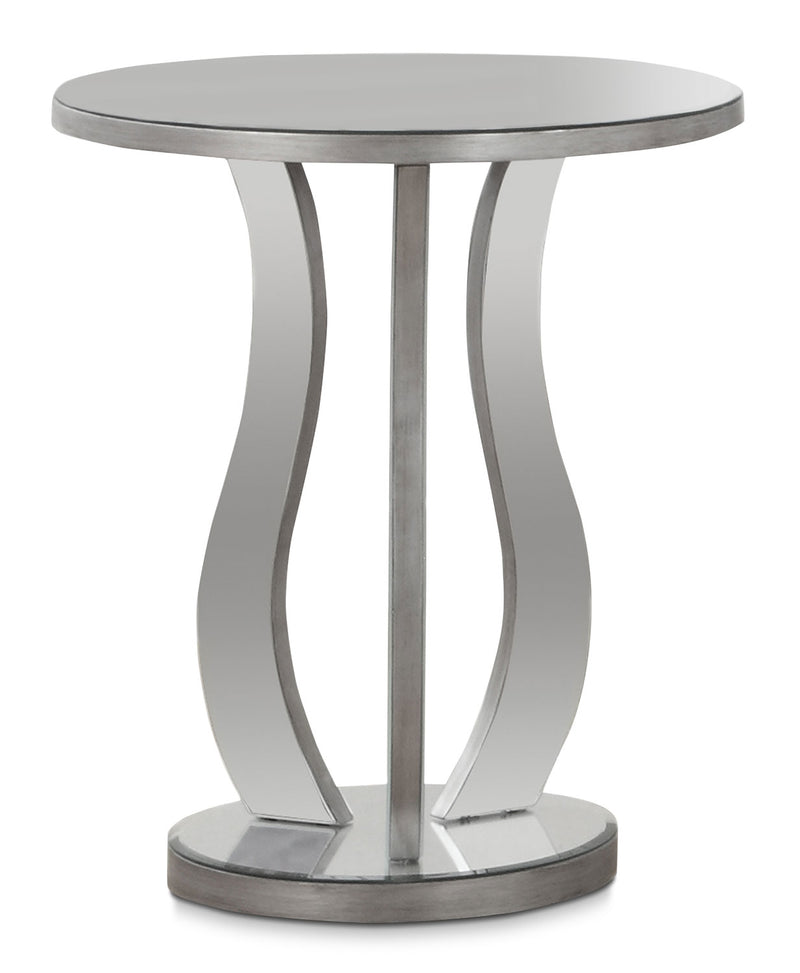 Laurel End Table - Glam style End Table in Silver Glass and Wood