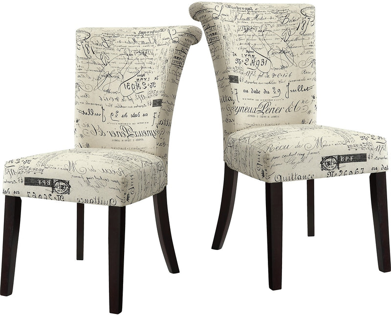 French Script 2 Piece Accent Dining Chair Package|Ensemble de 2 chaises d'appoint à écritures françaises|SCRIPTPK2