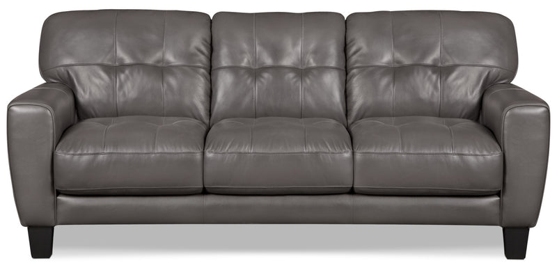 Abby Genuine Leather Sofa – Grey|Sofa Abby en cuir véritable – gris