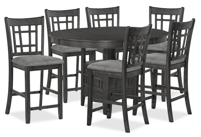 Desi 7-Piece Counter-Height Dining Package – Charcoal|Ensemble de salle à manger Desi 7 pièces de hauteur comptoir - gris