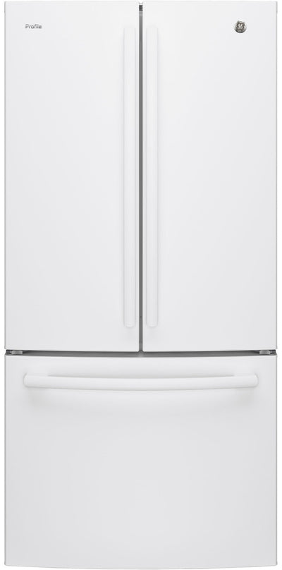 GE Profile 24.5 Cu. Ft. French-Door Refrigerator with Space-saving Icemaker – PNE25NGLKBB - Refrigerator with Exterior Water/Ice Dispenser in White