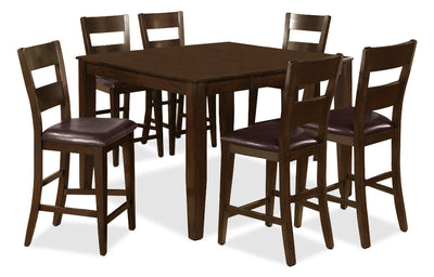 7 Piece Dakota Pub Dinette Package - Contemporary style Dining Room Set in Cherry