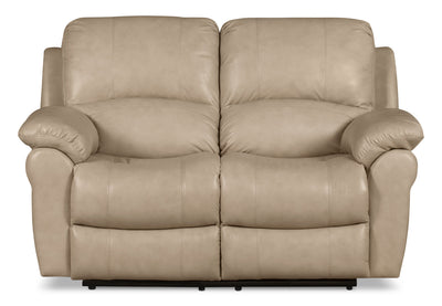 Kobe Genuine Leather Power Reclining Loveseat - Stone - Contemporary style Loveseat in Stone