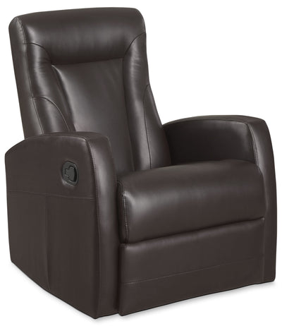 Molly Bonded Leather Swivel Recliner - Brown|Fauteuil pivotant inclinable Molly en cuir contrecollé - brun|MOLLY-BR