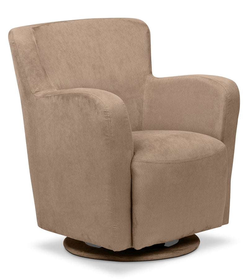 Zello Microsuede Swivel Accent Chair – Mocha - Contemporary style Accent Chair in Mocha