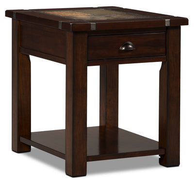 Roanoke End Table - Rustic style End Table in Cherry Wood/Stone