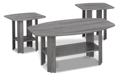 Rosario 3-Piece Coffee and Two End Tables Package – Grey - Contemporary style Occasional Table Package in Grey Wood