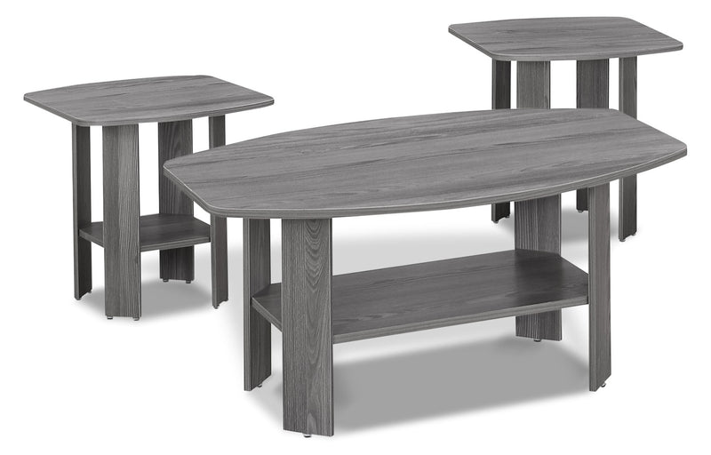 Rosario 3-Piece Coffee and Two End Tables Package – Grey|Ensemble de table à café et deux tables de bout Rosario 3 pièces