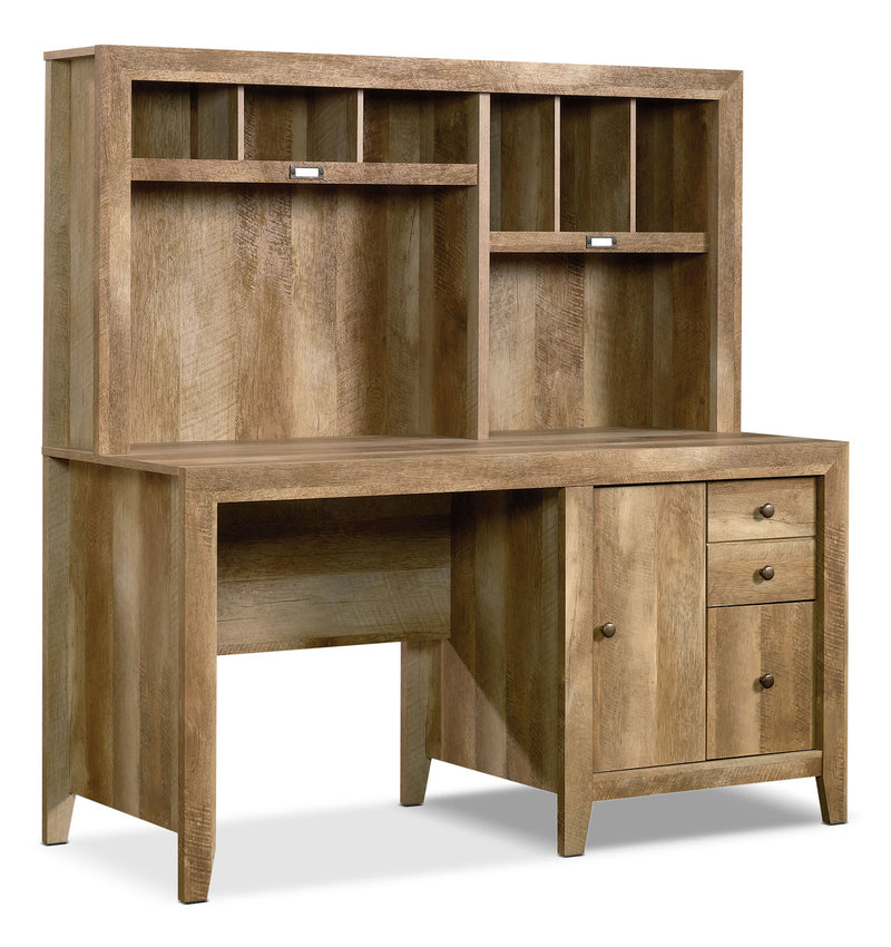 "Dakota Pass 59"" Computer Desk with Hutch – Craftsman Oak