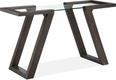 Granada Sofa Table - Retro style Sofa Table in Espresso Hardwood Solids and Glass