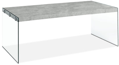 Yonah Coffee Table – Cement Grey - Modern style Coffee Table in Light Grey Glass