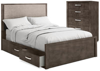 Monaco 4-Piece King Storage Bed and Chest Package – Anthracite Grey