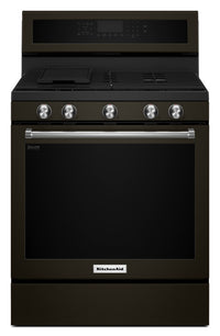 KitchenAid 5.8 Cu. Ft. Five-Burner Gas Convection Range - Black Stainless Steel