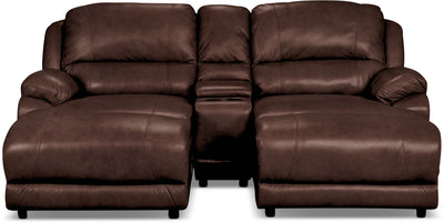 Marco Genuine Leather 3-Piece Sectional with Console– Chocolate - Contemporary style Sectional in Chocolate