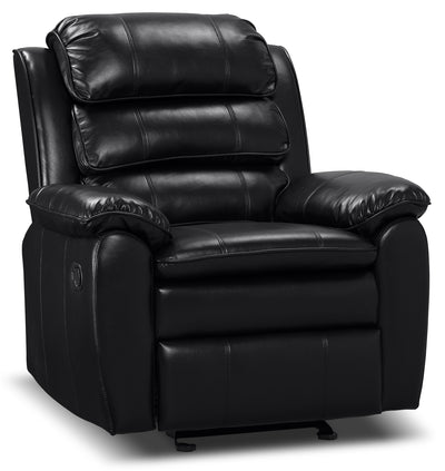Adam Leather-Look Fabric Reclining Glider Chair – Black - Contemporary style Chair in Black
