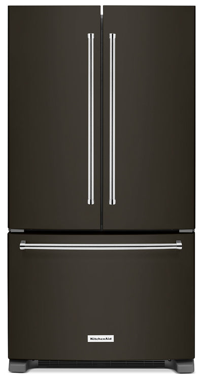 KitchenAid 20 Cu. Ft. French Door Refrigerator with Interior Dispenser - Black Stainless Steel - Refrigerator with High-Efficiency in Black Stainless Steel