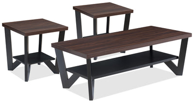 Arika 3-Piece Coffee and Two End Tables Package – Black - Contemporary style Occasional Table Package in Brown Wood
