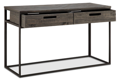 Calistoga Sofa Table - Rustic style Sofa Table in Charcoal Metal and Wood