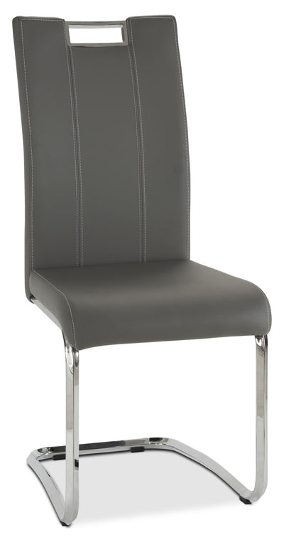 Tuxedo Dining Chair – Grey - Modern style Dining Chair in Grey Steel and Faux Leather