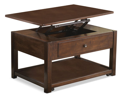 Marion Coffee Table with Lift-Top and Casters - Contemporary style Coffee Table in Dark Brown Wood