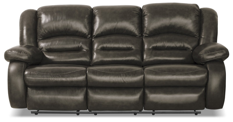 Toreno Genuine Leather Reclining Sofa – Grey|Sofa inclinable Toreno en cuir véritable - gris