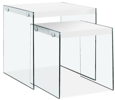 Waterford 2-Piece End Table - Modern style End Table in White MDF and Glass