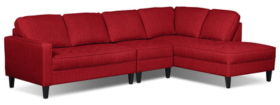 Paris 3-Piece Linen-Look Fabric Right-Facing Sectional – Cherry|Sofa sectionnel de droite Paris 3 pièces en tissu d'apparence lin - cerise|PARICRS3